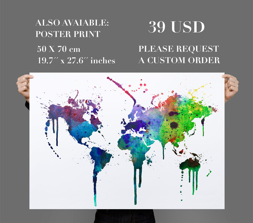 World map wall decal watercolor vinyl moonwallstickers world map wall decal watercolor vinyl thumbnail 1 amipublicfo Gallery