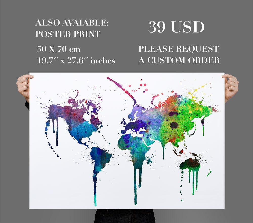 World Map Wall Decal Watercolor Vinyl   Thumbnail 1 ...