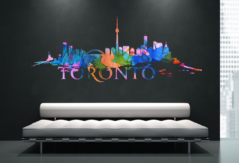 Toronto City Skyline Watercolor Art Decal Moonwallstickerscom - Custom vinyl decals toronto