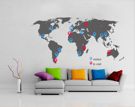 World map decal with pins for housewares moonwallstickers world map decal with pins for housewares gumiabroncs