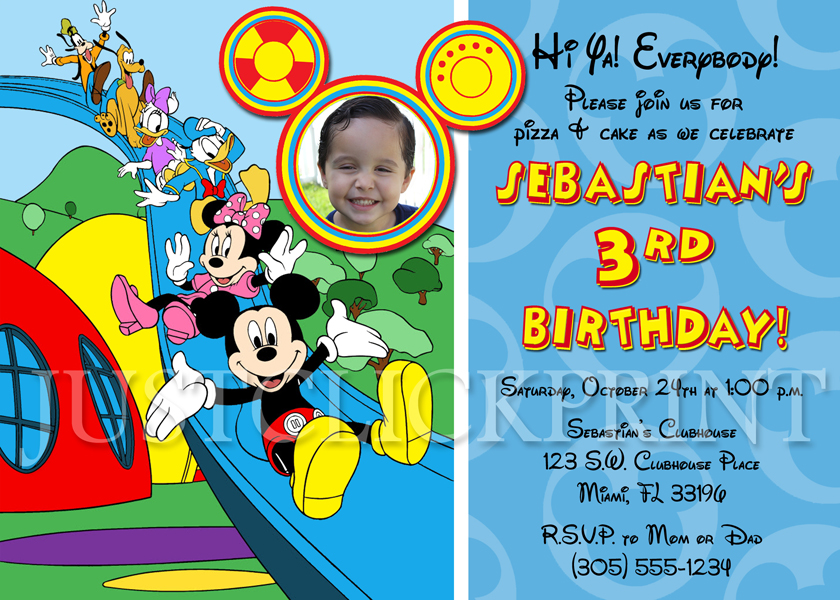 Mickey Mouse Clubhouse Birthday Photo Invitation Printable Just