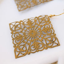 Large Filigree Cutout Mustard Earrings
