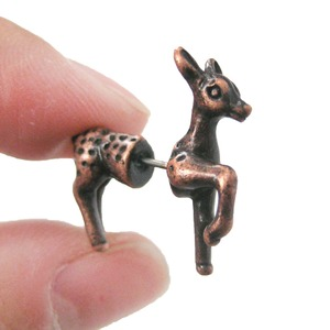 Animal Bambi Deer Fake Gauge Stud Earrings in Copper