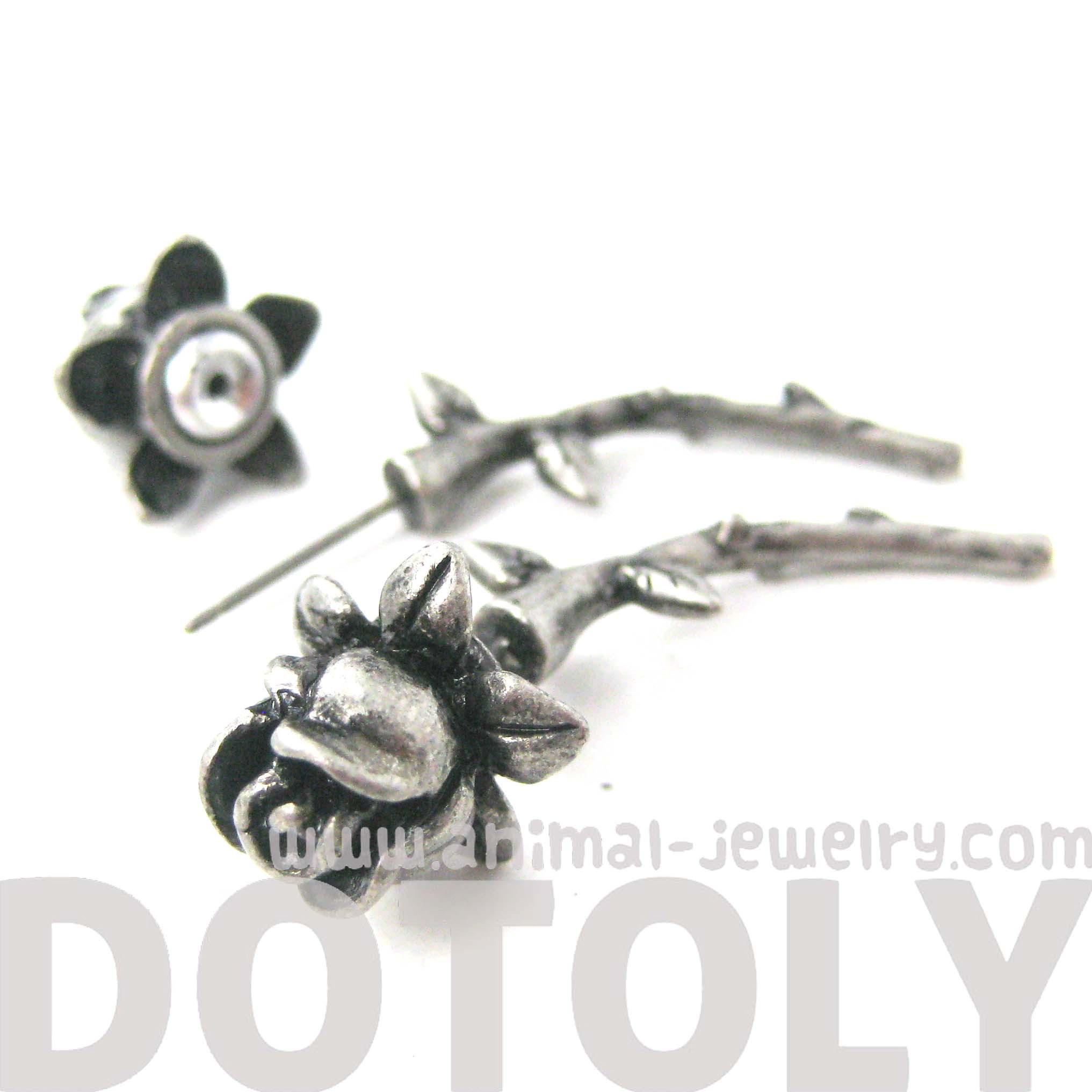 Rose Flower Shaped Fake Gauge Plug Stud Earrings In Silver  Thumbnail 3