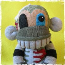 Bawdy Von Decay Zombie Monkey Halloween Sock Monkey Handmade Doll