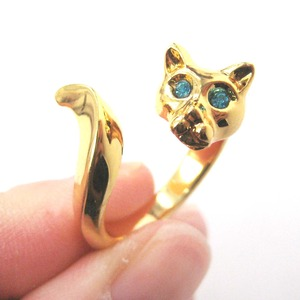 Kitty Cat Animal Wrap Around Ring in Shiny Gold with Rhinestone Eyes - Sizes 6 to 9 Available