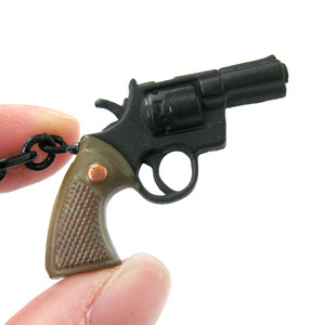 Small Realistic Gun Pistol Revolver Shaped Pendant Necklace