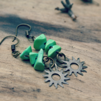 flora. apple howlite and sun charm earrings