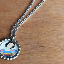 Snow White Bottlecap Necklace