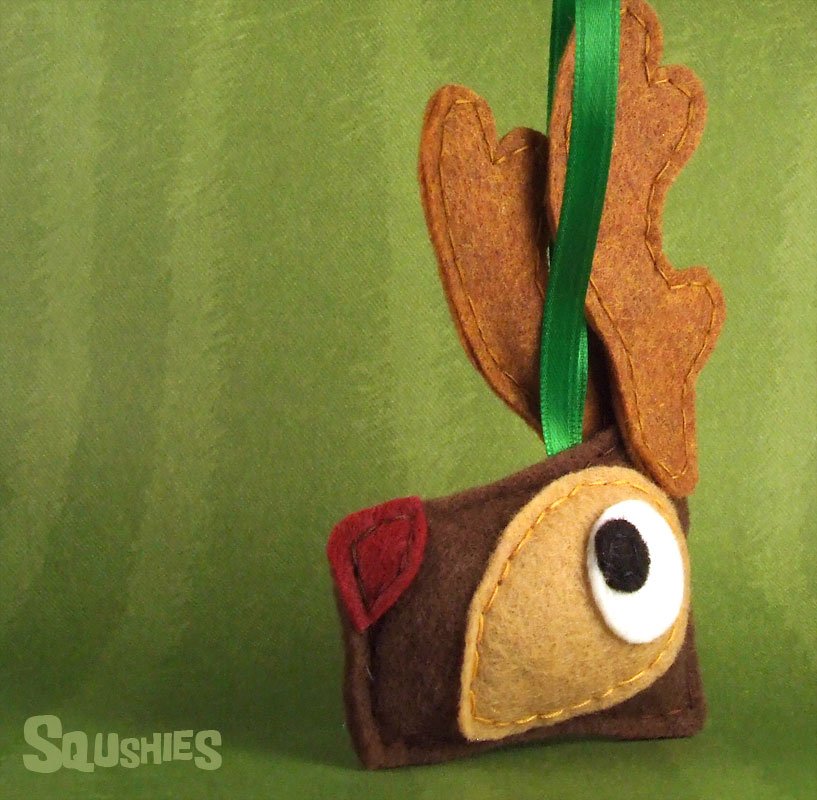 Felt Rudolph Reindeer Ornament, Felt Animal Ornament - Rudolph the ...