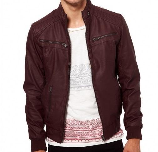 Men maroon-color ban collar bomber biker leather · Rangoli ...