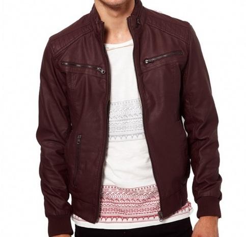 Men maroon-color ban collar bomber biker leather on Storenvy