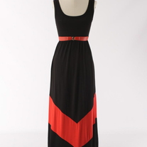Colorblock Black & Red Long Tank Chevron Stripe Maxi Dress