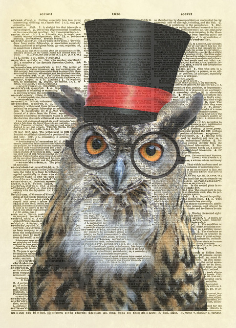 Owl with top hat dictionary art print no 63 altered for Owl fish store