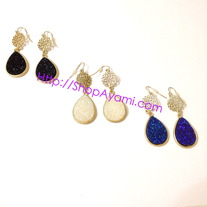 Druzy Teardrop Filigree Earrings