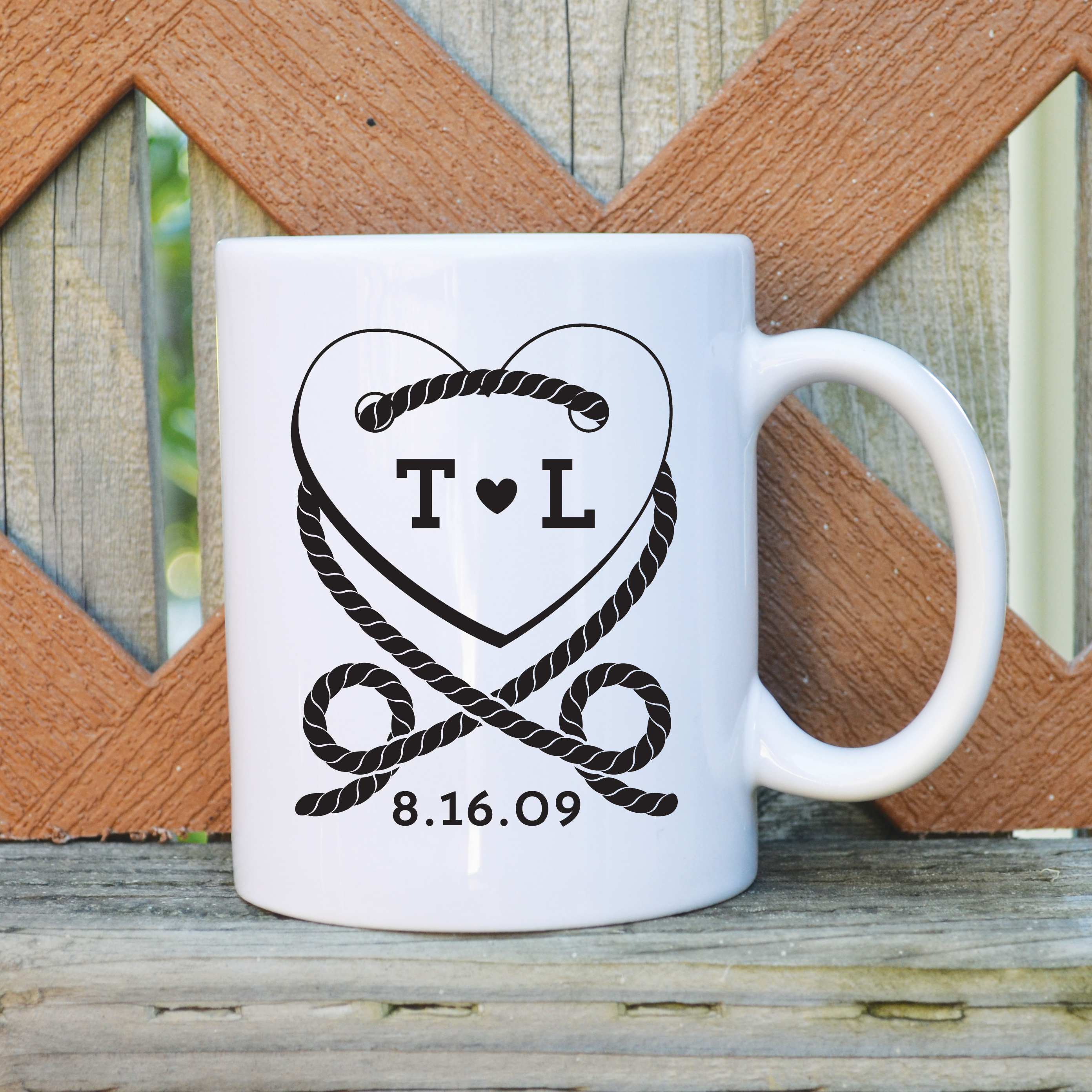 Custom wedding coffee mug with initials and date 11 oz on storenvy