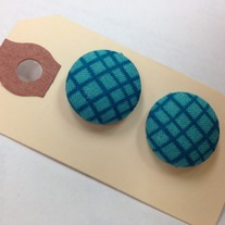 Teal Plaid Button Earrings