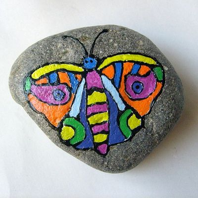 Garden decor/yard art - butterfly painted rock - free usa shipping