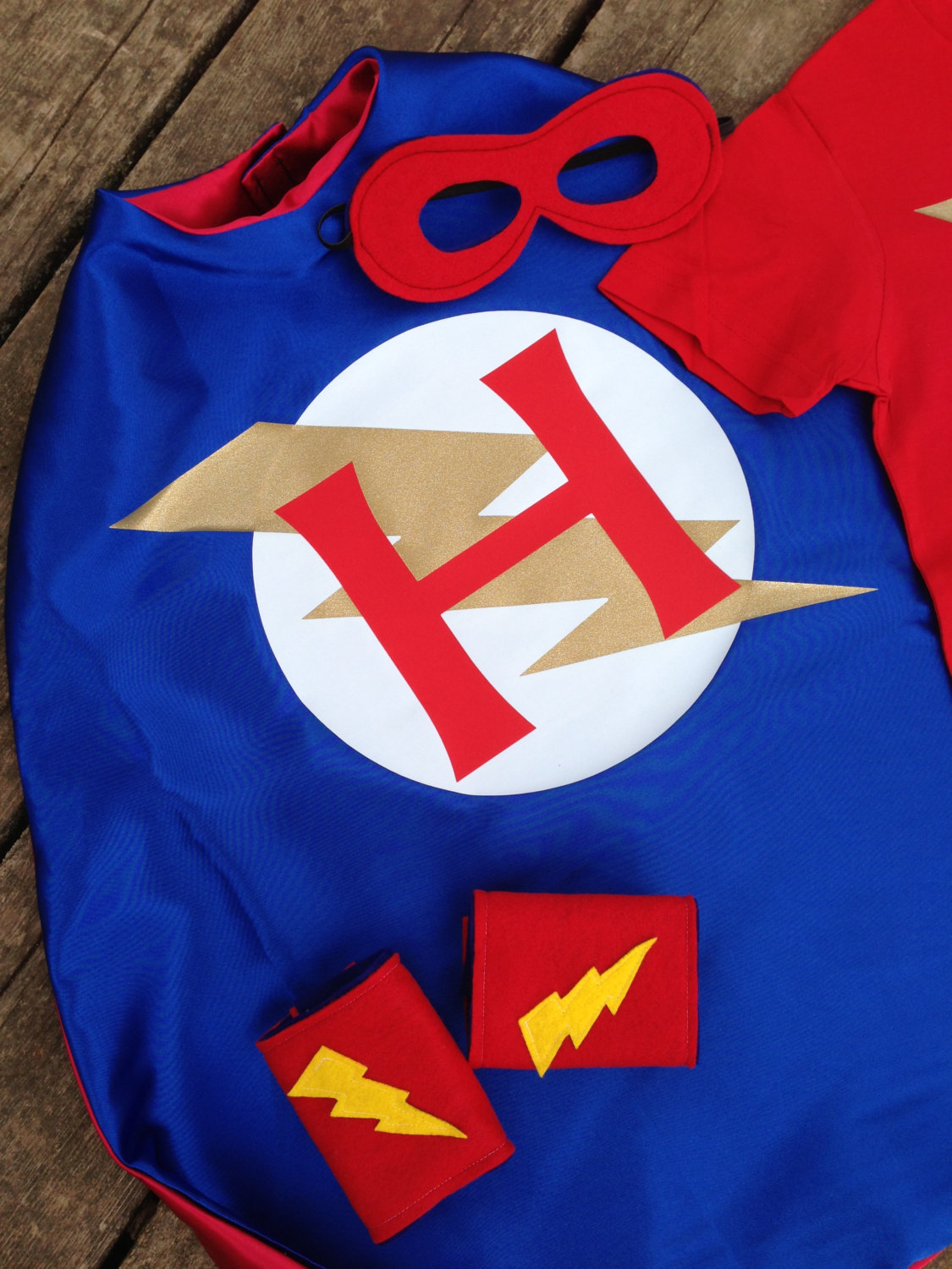 Personalized superhero cape t shirt mask and power cuffs for Cape designs