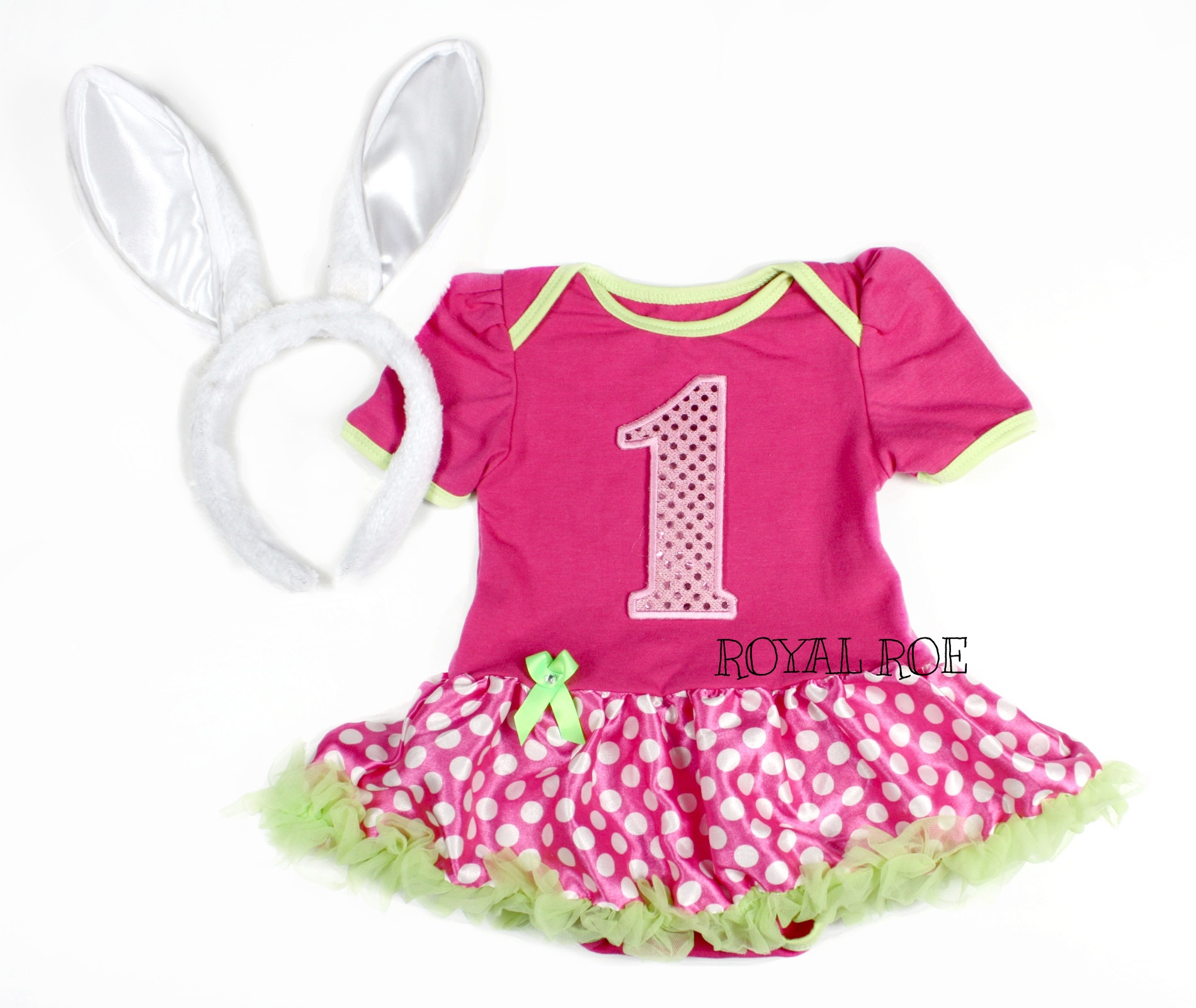 Baby Girl Sequin 1st Easter Hot Pink Lime Green Polka Dot Tutu Dress