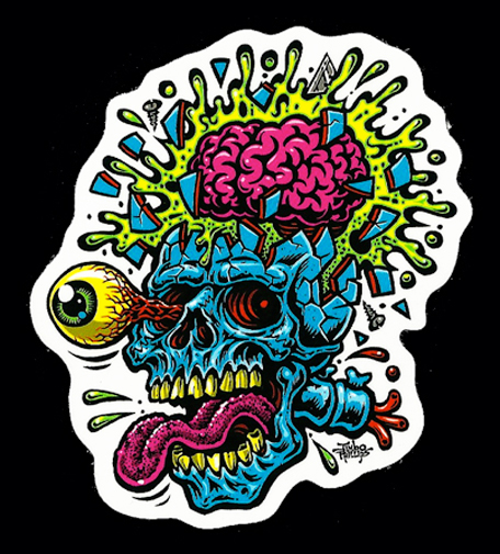 skull blast full color shaped vinyl sticker