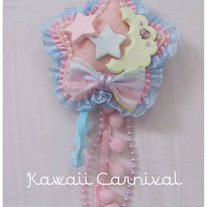 "Fairy Kei ""MOON LIGHT"" 2 way clip (pink and blue lace)"