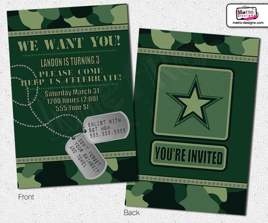 Camo Invitations, Army Invitation, Invitations, Invitation, Birthday ...