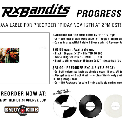 Rx bandits- progress 2xlp(180 gram) exclusive 3 pack with radioactive white/black rarity /100