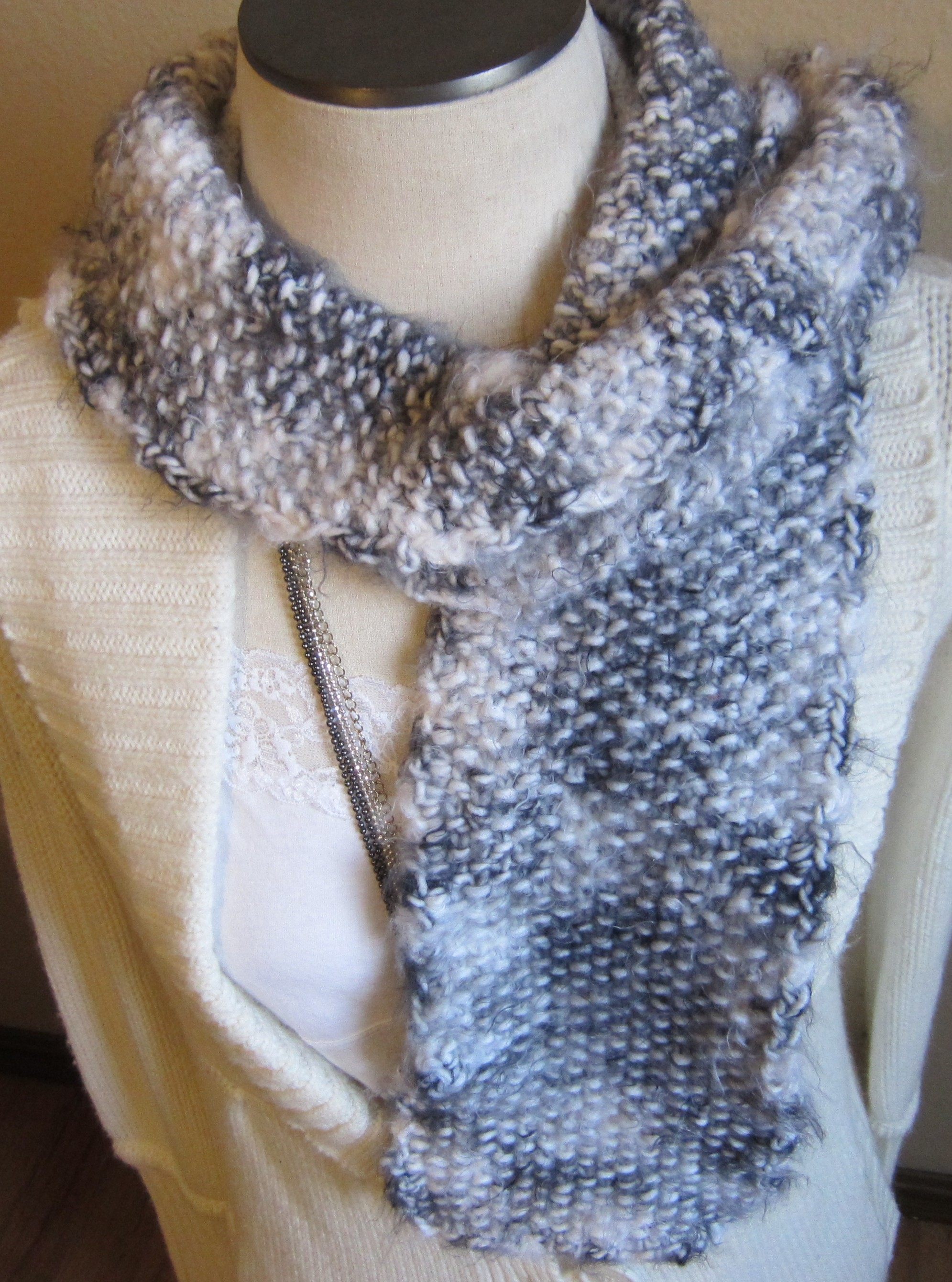 Knitted Scarf made with Soft Angel Hair Yarn in Black and ...