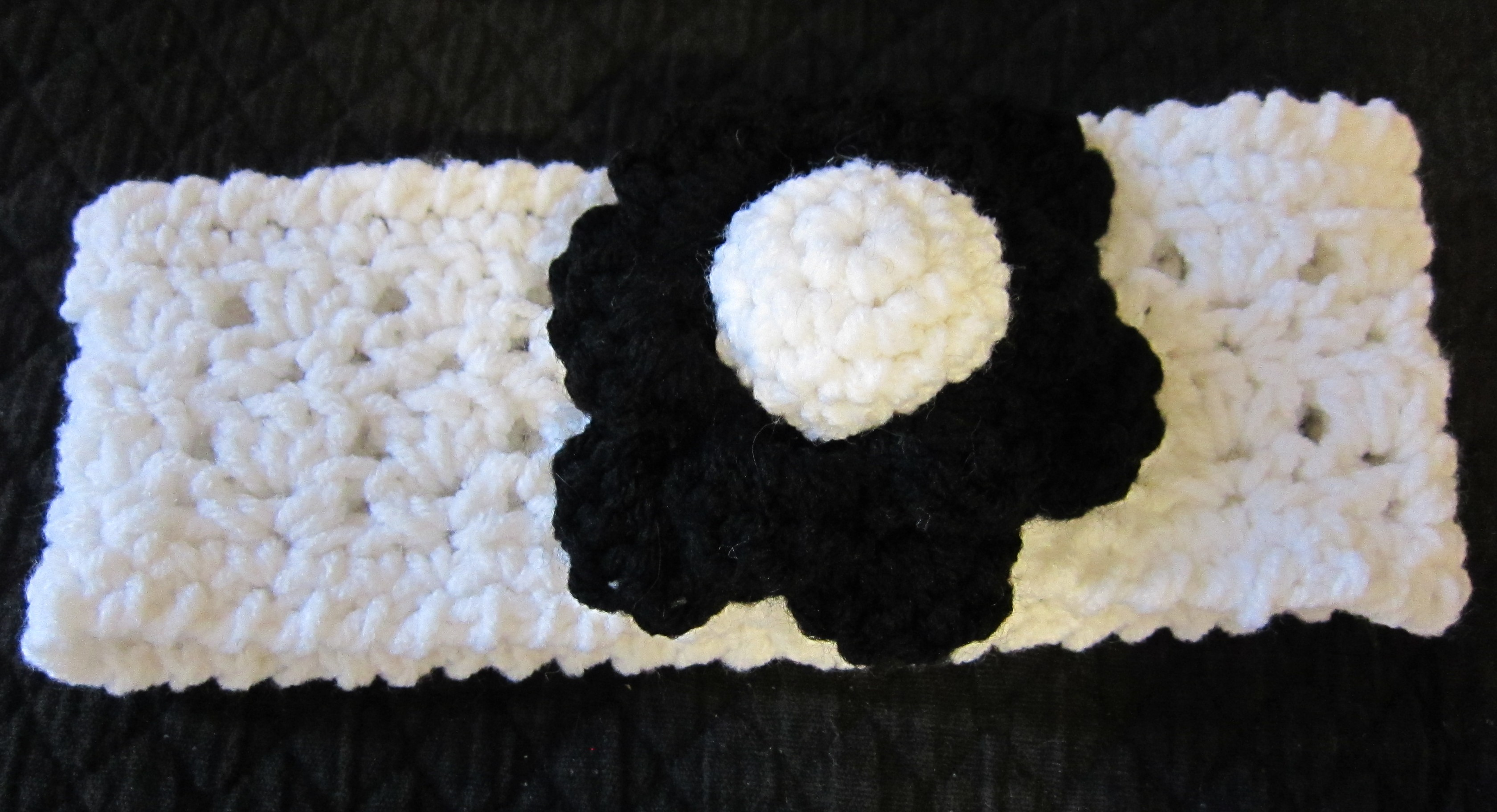 Crochet Headband With Flower In Black And White Kitkatcrochets