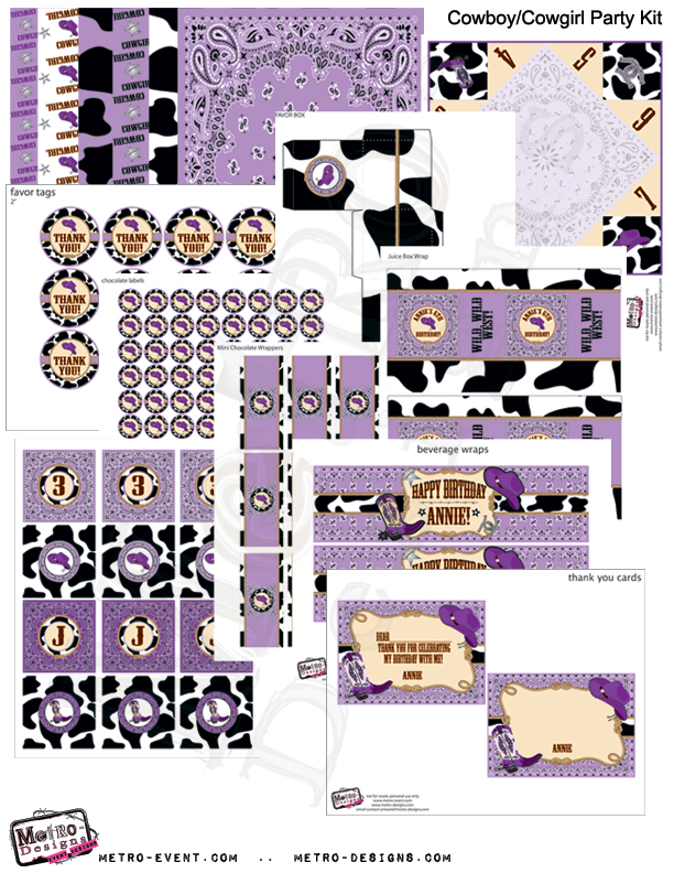 Cowgirl Birthday Party Kit Purple