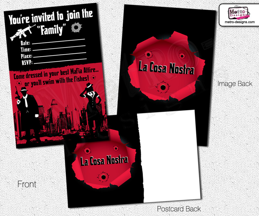 Mobster Party Kit MetroEvents Party Supplies – Gangster Party Invitations