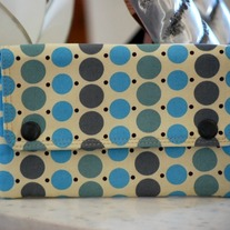 Double Snap Wallet - Blue Grey Dots