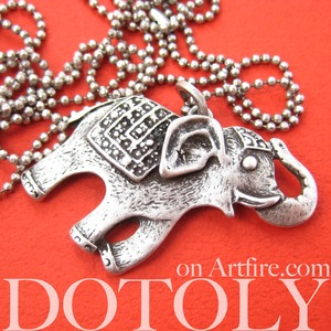 Elephant Happy Cute Animal Pendant Necklace in Silver