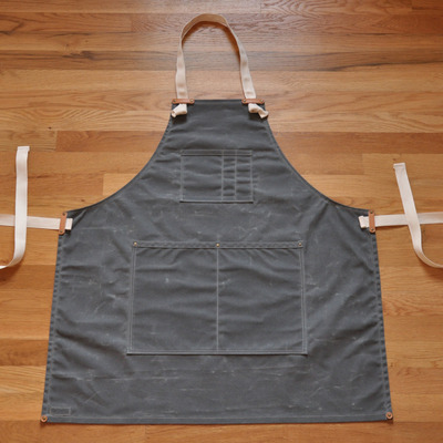Apron - charcoal navy waxed canvas