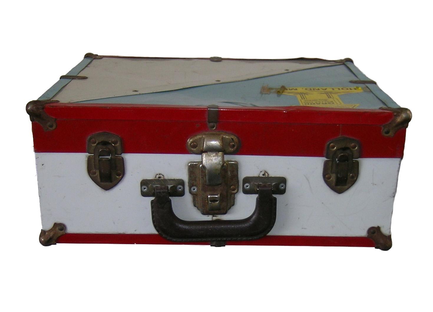 Roller skates red - Vintage Metal Roller Skate Case Suitcase Light Blue White Red