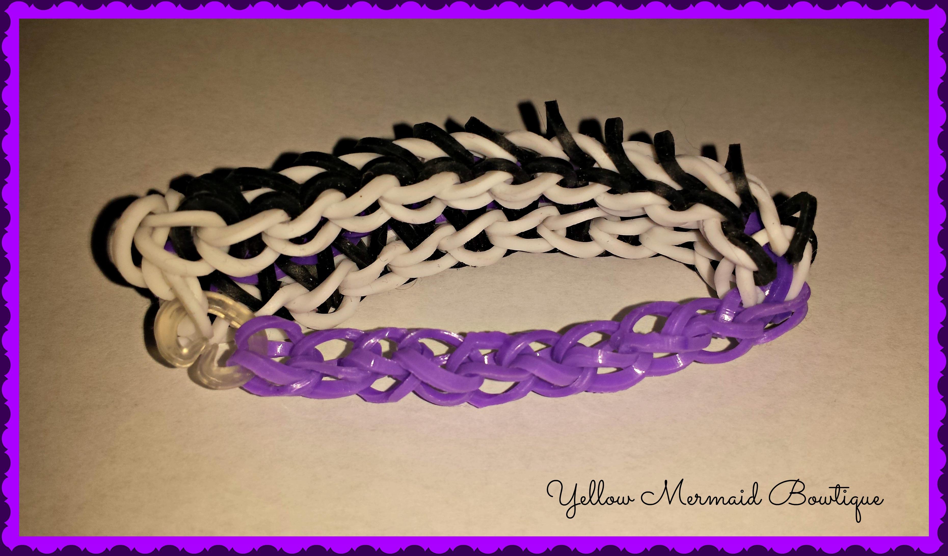 ... > Jewelry > Chiari Awareness Zipper Loom Bracelet Purple and Black