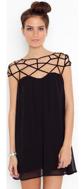 Geometric Neckline Mini Dress