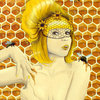 Queen Bee - Fine Art Print 8x10 - Honey bees yellow flowers Apiphilia