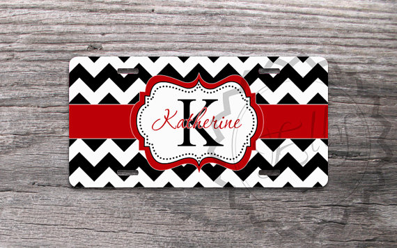 monogrammed license plate - black chevron with pretty red ribbon