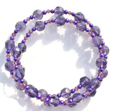 Gwennie- a purple faceted crystal doulbe wrap bracelet