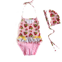 Vindie Vintage Inspired Pink Baby Girl Strawberry Swimsuit