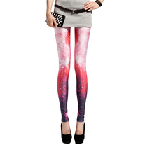 Red universe printed leggings