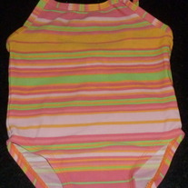 PINK STRIPE SWIM SUIT-BABY GAP-3-6 MONTHS
