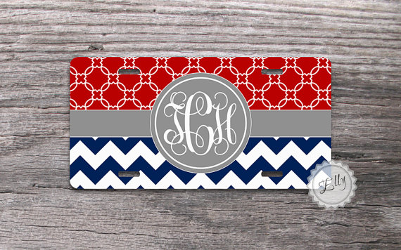Personalized Front License Plates >> Custom License Plate Red Modern Trellis And Navy Blue Chevron With