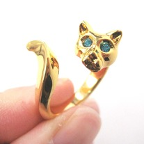 Kitty Cat Animal Wrap Ring in Shiny Gold with Rhinestone Eyes | US Sizes 6 to 9