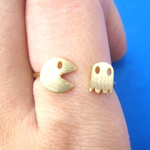Adjustable Pac Man Pacman Arcade Ghost Pixel Ring in Gold