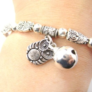Owl Bird Shaped Beaded Stretchy Charm Bracelet in Silver | Animal Jewelry