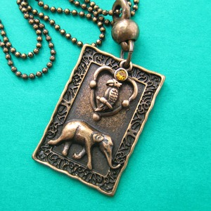 Elephant Parrot Animal Charm Necklace in Bronze with Rhinestone