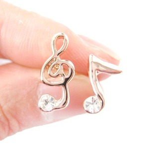 Music Themed Treble Clef and Musical Note Shaped Stud Earrings in Rose Gold with Rhinestones